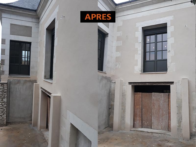 Création d'une nouvelle structure avec des poteaux en béton armé pour recevoir une terrasse bois.