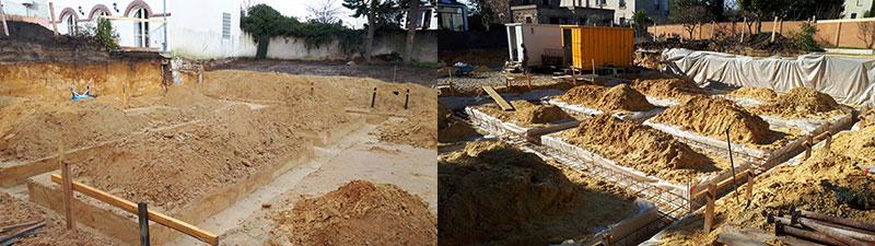 Fondations d'un complexe d'habitations. Projet piloté par 2MA Structure - Tours
